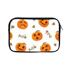 Funny Spooky Halloween Pumpkins Pattern White Orange Apple Ipad Mini Zipper Cases