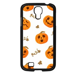 Funny Spooky Halloween Pumpkins Pattern White Orange Samsung Galaxy S4 I9500/ I9505 Case (black)