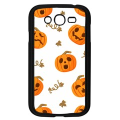Funny Spooky Halloween Pumpkins Pattern White Orange Samsung Galaxy Grand Duos I9082 Case (black)