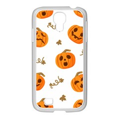 Funny Spooky Halloween Pumpkins Pattern White Orange Samsung Galaxy S4 I9500/ I9505 Case (white)