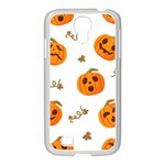 Funny Spooky Halloween Pumpkins Pattern White Orange Samsung GALAXY S4 I9500/ I9505 Case (White) Front