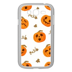 Funny Spooky Halloween Pumpkins Pattern White Orange Samsung Galaxy Grand Duos I9082 Case (white)