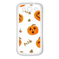 Funny Spooky Halloween Pumpkins Pattern White Orange Samsung Galaxy S3 Back Case (white)