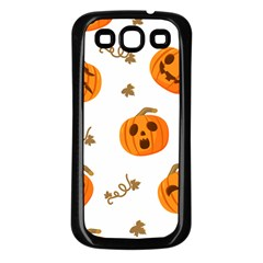 Funny Spooky Halloween Pumpkins Pattern White Orange Samsung Galaxy S3 Back Case (black)