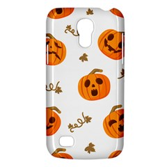 Funny Spooky Halloween Pumpkins Pattern White Orange Samsung Galaxy S4 Mini (gt I9190) Hardshell Case