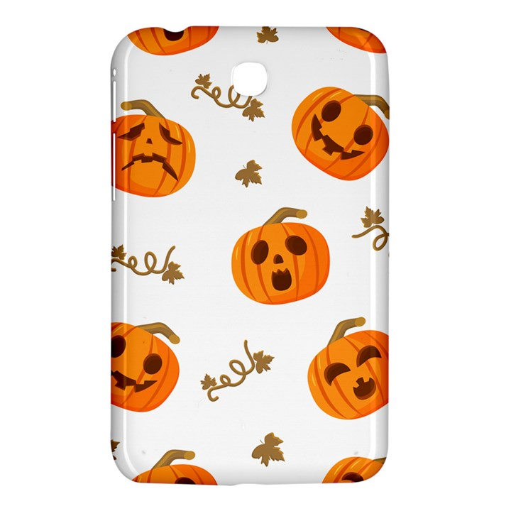 Funny Spooky Halloween Pumpkins Pattern White Orange Samsung Galaxy Tab 3 (7 ) P3200 Hardshell Case