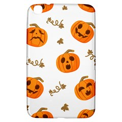 Funny Spooky Halloween Pumpkins Pattern White Orange Samsung Galaxy Tab 3 (8 ) T3100 Hardshell Case  by HalloweenParty