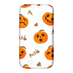 Funny Spooky Halloween Pumpkins Pattern White Orange Samsung Galaxy S4 Classic Hardshell Case (pc+silicone)
