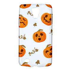 Funny Spooky Halloween Pumpkins Pattern White Orange Samsung Galaxy S4 Active (i9295) Hardshell Case