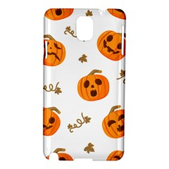 Funny Spooky Halloween Pumpkins Pattern White Orange Samsung Galaxy Note 3 N9005 Hardshell Case