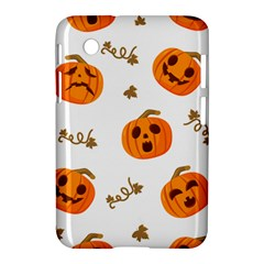 Funny Spooky Halloween Pumpkins Pattern White Orange Samsung Galaxy Tab 2 (7 ) P3100 Hardshell Case  by HalloweenParty
