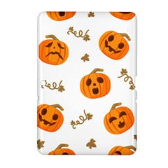 Funny Spooky Halloween Pumpkins Pattern White Orange Samsung Galaxy Tab 2 (10 1 ) P5100 Hardshell Case