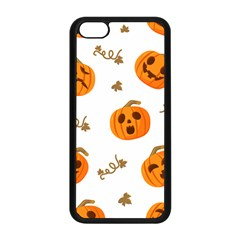 Funny Spooky Halloween Pumpkins Pattern White Orange Apple Iphone 5c Seamless Case (black)