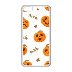 Funny Spooky Halloween Pumpkins Pattern White Orange Apple Iphone 5c Seamless Case (white)