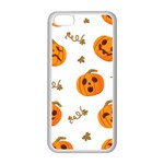 Funny Spooky Halloween Pumpkins Pattern White Orange Apple iPhone 5C Seamless Case (White) Front