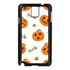 Funny Spooky Halloween Pumpkins Pattern White Orange Samsung Galaxy Note 3 N9005 Case (black)