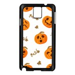 Funny Spooky Halloween Pumpkins Pattern White Orange Samsung Galaxy Note 3 N9005 Case (Black) Front