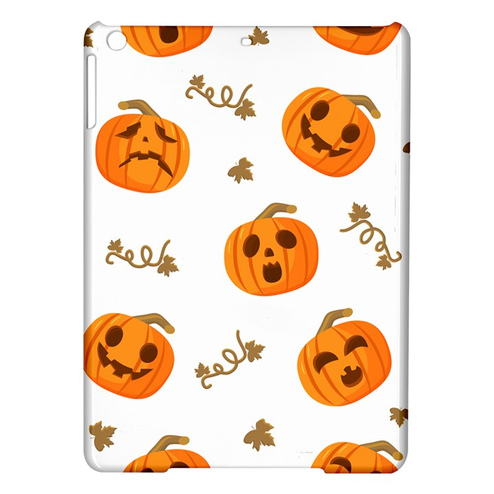 Funny Spooky Halloween Pumpkins Pattern White Orange iPad Air Hardshell Cases