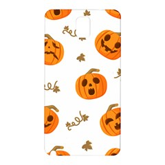 Funny Spooky Halloween Pumpkins Pattern White Orange Samsung Galaxy Note 3 N9005 Hardshell Back Case
