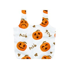 Funny Spooky Halloween Pumpkins Pattern White Orange Full Print Recycle Bag (s)