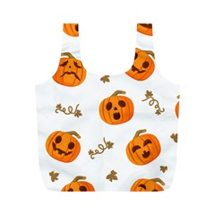 Funny Spooky Halloween Pumpkins Pattern White Orange Full Print Recycle Bag (m)