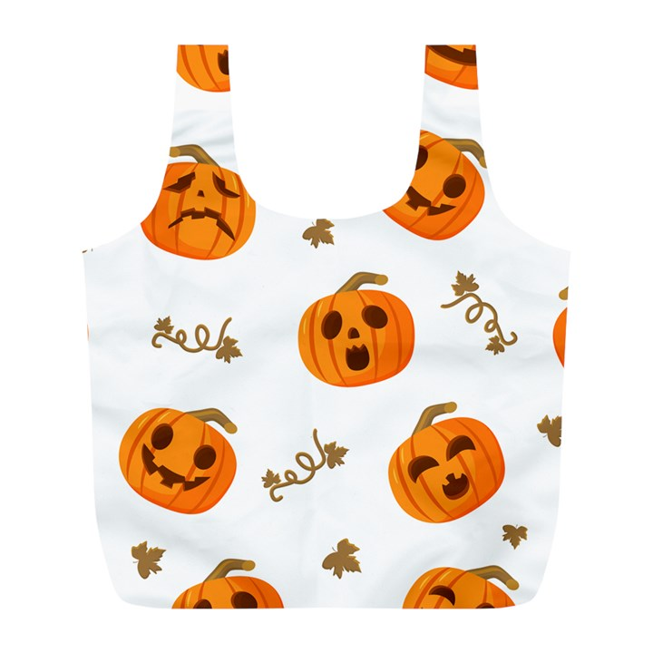 Funny Spooky Halloween Pumpkins Pattern White Orange Full Print Recycle Bag (L)