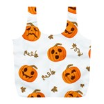 Funny Spooky Halloween Pumpkins Pattern White Orange Full Print Recycle Bag (L) Back