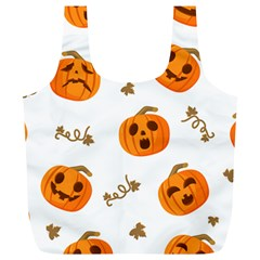 Funny Spooky Halloween Pumpkins Pattern White Orange Full Print Recycle Bag (xl)