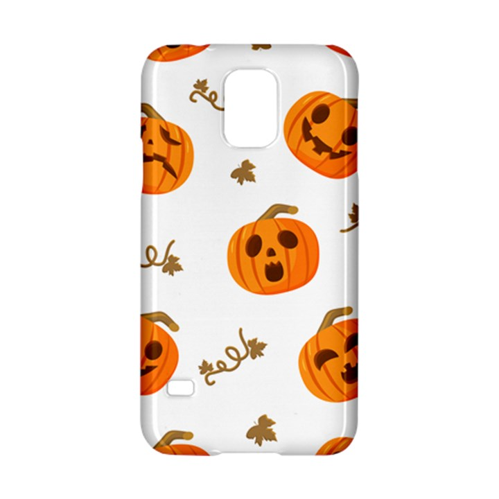 Funny Spooky Halloween Pumpkins Pattern White Orange Samsung Galaxy S5 Hardshell Case