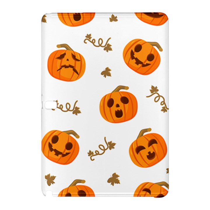 Funny Spooky Halloween Pumpkins Pattern White Orange Samsung Galaxy Tab Pro 10.1 Hardshell Case