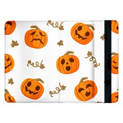 Funny Spooky Halloween Pumpkins Pattern White Orange Samsung Galaxy Tab Pro 12 2  Flip Case