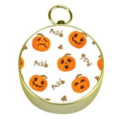 Funny Spooky Halloween Pumpkins Pattern White Orange Gold Compasses