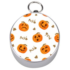 Funny Spooky Halloween Pumpkins Pattern White Orange Silver Compasses