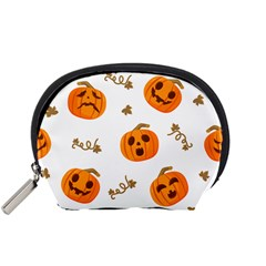 Funny Spooky Halloween Pumpkins Pattern White Orange Accessory Pouch (small)
