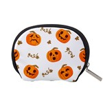 Funny Spooky Halloween Pumpkins Pattern White Orange Accessory Pouch (Small) Back