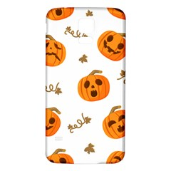 Funny Spooky Halloween Pumpkins Pattern White Orange Samsung Galaxy S5 Back Case (white)