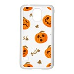 Funny Spooky Halloween Pumpkins Pattern White Orange Samsung Galaxy S5 Case (White) Front