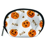 Funny Spooky Halloween Pumpkins Pattern White Orange Accessory Pouch (Medium) Front