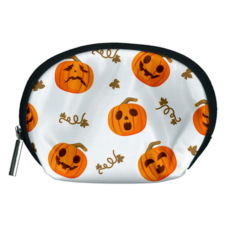Funny Spooky Halloween Pumpkins Pattern White Orange Accessory Pouch (Medium)