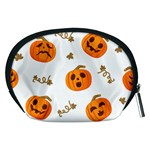 Funny Spooky Halloween Pumpkins Pattern White Orange Accessory Pouch (Medium) Back