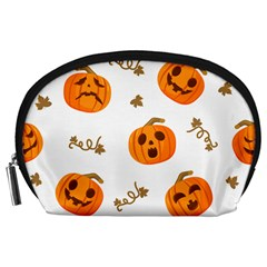 Funny Spooky Halloween Pumpkins Pattern White Orange Accessory Pouch (large)