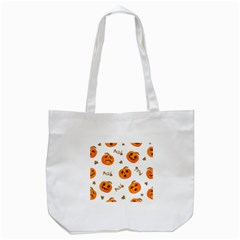 Funny Spooky Halloween Pumpkins Pattern White Orange Tote Bag (white)