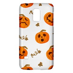 Funny Spooky Halloween Pumpkins Pattern White Orange Samsung Galaxy S5 Mini Hardshell Case