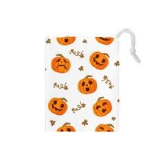 Funny Spooky Halloween Pumpkins Pattern White Orange Drawstring Pouch (small)