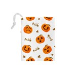Funny Spooky Halloween Pumpkins Pattern White Orange Drawstring Pouch (Small) Back