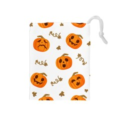 Funny Spooky Halloween Pumpkins Pattern White Orange Drawstring Pouch (medium)