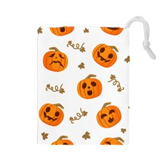 Funny Spooky Halloween Pumpkins Pattern White Orange Drawstring Pouch (large)