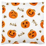 Funny Spooky Halloween Pumpkins Pattern White Orange Standard Flano Cushion Case (Two Sides) Front