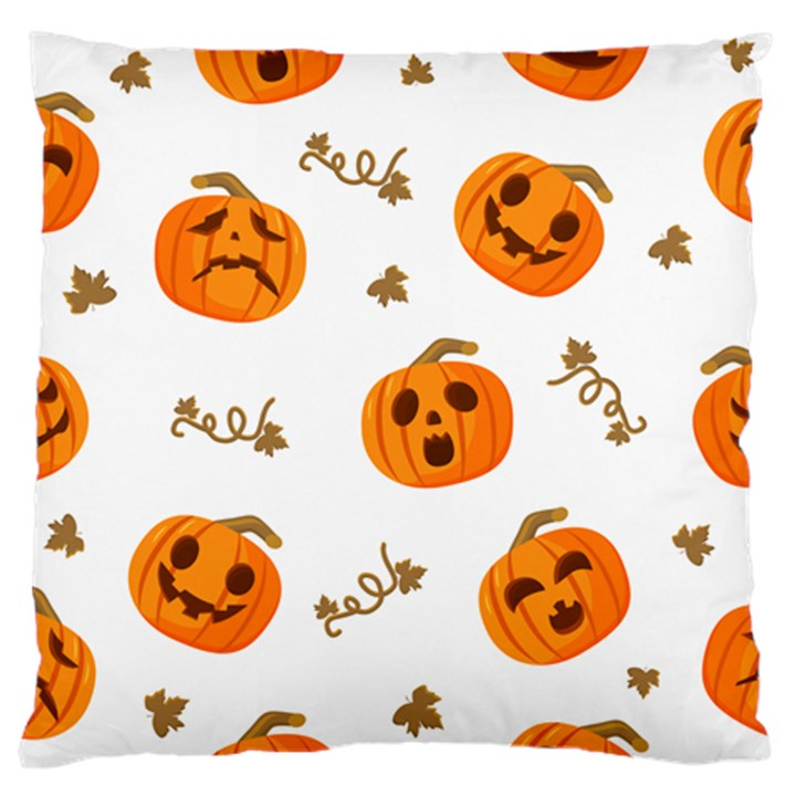 Funny Spooky Halloween Pumpkins Pattern White Orange Standard Flano Cushion Case (Two Sides)