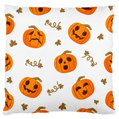 Funny Spooky Halloween Pumpkins Pattern White Orange Large Flano Cushion Case (two Sides)